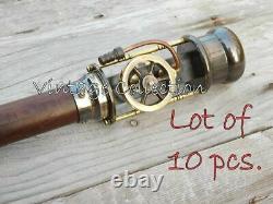 10 Pieces Brass Steam Engine Handle Walking StickVintage Wooden Walking Cane