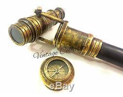 10 Pieces Vintage Wooden Walking Stick Hidden SPY BRASS TELESCOPE COMPASS ON TOP