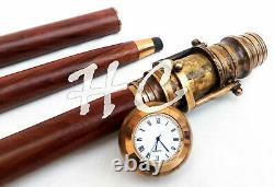 10 Units Clock Top Wooden Walking Stick With Hidden Antique Brass Telescope Cane