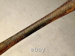 1800's Antique FOLK ART Wooden WALKING STICK Cane CARVED from LIGNUM VITAE Wood