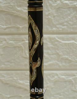 3 Handcrafted Mother of Pearl Inlaid Ebony Wood Stick, Wooden Walking Cane #09
