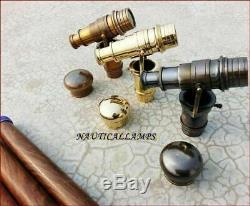 3 PC SET HIDDEN SPY STEAMPUNK TELESCOPE ANTIQUE Brass Wooden Walking Stick Cane