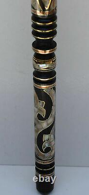 34 Egyptian Handcrafted Walking Cane, Mother of Pearl Inlaid Wooden Stick