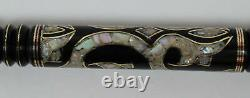 34 Handmade Ebony Wood Walking Cane Stick, Mother of Pearl Inlay Wooden Stick