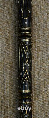 35 Egyptian Hand carved Ebony Wood Walking Cane Stick, Brass Inlay Wooden Cane