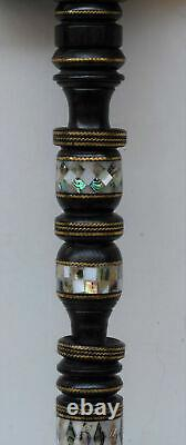 36 Handcrafted Mother of Pearl Inlaid Egyptian Ebony Wooden Walking Cane Stick