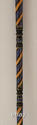36 Lapis and Amber Inlaid Wooden Walking Stick Cane, Ebony Stick