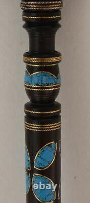 37.7 Lapis and Turquoise Inlaid Ebony Wooden Handmade Walking Cane Stick