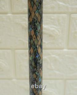 37 Handcrafted Wood Walking Cane, Mother of Pearl Inlay ebony Wooden Stick Cane