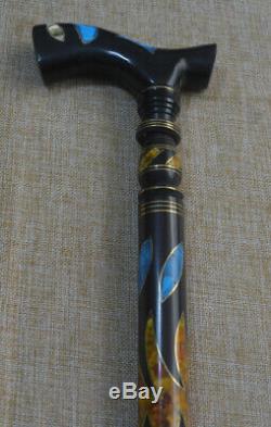 37 Turquoise & Amber Inlay Wooden Stick, Egyptian Ebony Wood Walking Cane