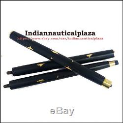 5 Pcs Wooden Stick, 3 Fold Vintage Brass Wood Walking Cane for customise Sticks