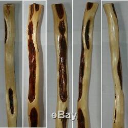 50'' Wooden Hiking Cane, BUMPY Finger Grips, Burl Diamond Willow Walking Stick