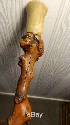 A Nice Antique Irish Black Thorn Wooden Walking Stick