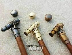ANTIQUE Brass Telescope HANDLE SOLID Lot-3 Solid WOODEN WALKING CANE / STICK