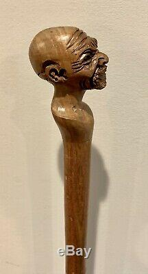 ANTIQUE HAND CARVED AFRICAN AMERICAN MAN With EARRING WOODEN WALKING STICK RARE