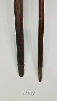 ANTIQUE WOODEN CANE WALKING STICKS 35 LOT OF 2 Folk art Vintage thin profile