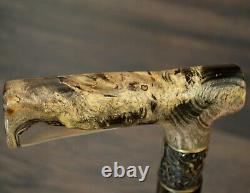 Acrylic Walking Cane Walking Stick Wooden Handmade Bronze Parts Stabilized Burl