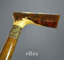 Amber style Hybrid Burl Handle Wooden Handmade Cane Walking Stick Unique # 5