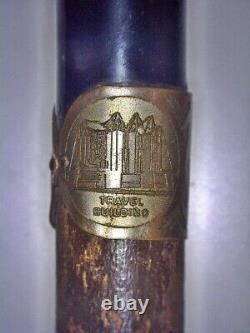 Antique 1933-34 Chicago World's Fair Wooden Cane Walking Stick Hallmarked Band