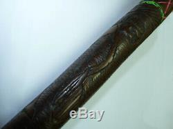 Antique African Hand-Carved Wooden Staff Walking Stick Animal Human Figures 96cm
