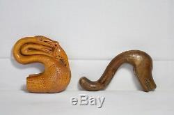 Antique Greek Rare Hand Carved walking stick cane top head wooden folk made