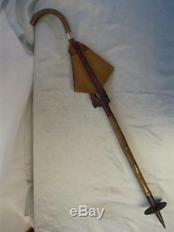 Antique H/m Silver 1904 Wooden Tripod Walking Stick With Leather Seat. (hatton)