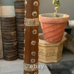 Antique Old Indian Wooden Handcrafted Silver Flower Work Old Man Walking Stick
