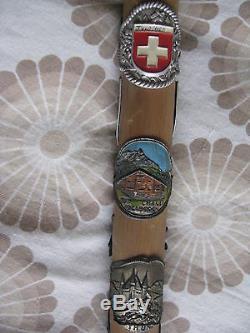 Antique Old Vintage Wooden Walking Stick Cane With Badge Swiss Weissenburgh