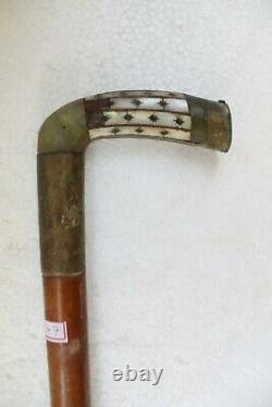 Antique Original Fine Jade Inlay Handle Wooden Swagger Walking Stick NH3547