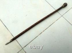 Antique Rare Wooden Hand Carved Unique Design Old Man/Woman Walking Stick