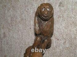 Antique Rustic Hand-Carved Wooden Monkey Perched On Branch Walking Stick/Cane