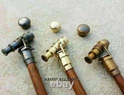 Antique Solid Brass Telescope Handle Lot Of 3 Wooden Walking Cane Stick Gift