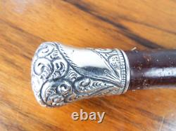 Antique Solid Silver Handle Mounted Cane Walking Stick Wooden Evening Accessory
