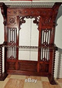 Antique Walking Stick Cane Furniture Entry Way Holder Wooden Hallway