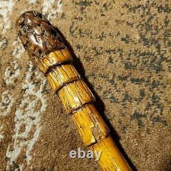 Antique Wooden 34 Walking Stick with Metal Tip & Burl Wood Handle
