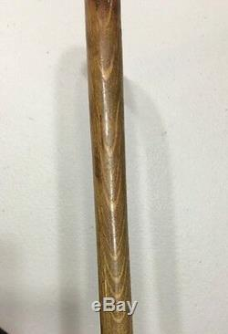 Antique Wooden Cane Walking Stick With Sterling Silver Niello Tip 35 Vintage