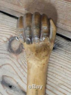 Antique Wooden Greek Kepkypa Walking Stick With Hand Carved Hand Top