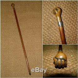 Antique Wooden Walking Stick/Cane With A Hand Clenching A Ball Handle'T. J. P