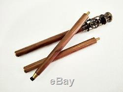 Antique Working Brass Steam Engine Handle Wooden Walking Stick Cane Set of 5