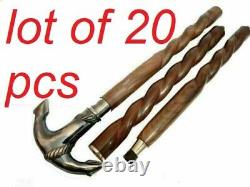 Antique brass anchor designed handle brown spiral wooden walking stick cane