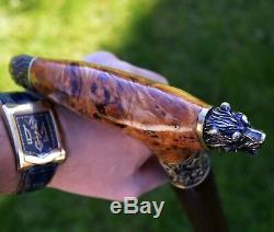 BEAR PAW Canes Walking Sticks Wooden BURL Handmade Men's Accessories Cane
