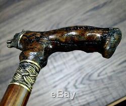 BEAR WOOD OAK lightning BRONZE Canes Walking Sticks Wooden Accessories Cane