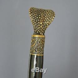 BRONZE COBRA Handmade Cane Walking Stick Wooden Unique Gift Men's Accessories 35