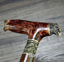 BURL Canes Walking Sticks Wood Reeds Bronze Wooden Handmade Cane Stick Men's #19