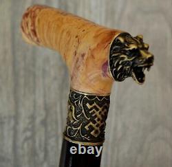 Bear Stabilized Burl Handle Wooden Handmade Cane Walking Stick # A8