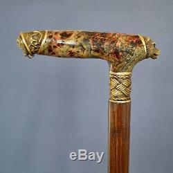 Bear Stabilized Burl Handle Wooden Handmade Cane Walking Stick Unique Exclusive