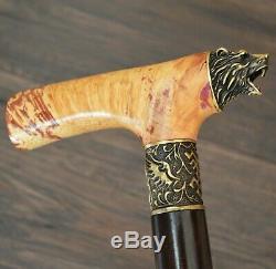 Bear Walking Cane Walking Stick Wooden Handmade Bronze Parts Stabilized Burl