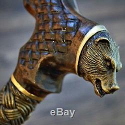 Bear Wooden Walking Stick Cane Hiking Staff Unique Handmade Bronze Oak Beech