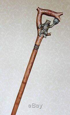 Bear and Hive Honey Walking stick cane Handmade Wooden Carved stick Wood canes