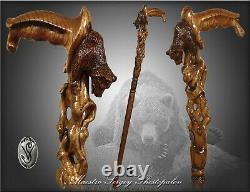Bear walking stick wooden cane for men handmade wood carved crafted comfortable